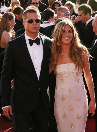 "Brad Pitt was married to Jennifer Aniston when he met Angelina Jolie while filming ""Mr. and Mrs. Smith."" Their romance ended the 'Friends' star marriage. (Photo: WENN)"