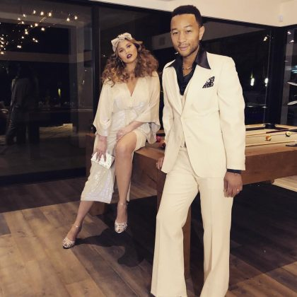 "Chrissy Teigen and John Legend are part of Khloé's inner circle. The model even made a very pointed dig at Woods when she shad ""I think NDA's are an amazing thing,"" prior to Jordyn's Red Table Talk interview. (Photo: Instagram)"