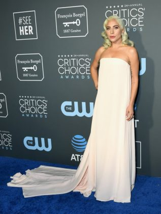 The 'A Star Is Born' star opted for a simple yet elegant Calvin Klein soft pink gown at the 2019 Critic's Choice Awards. (Photo: WENN)