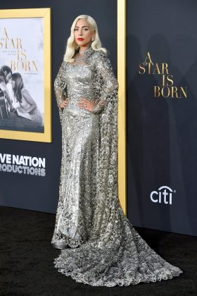 Gaga twinkled in a metallic silver Givenchy Couture gown with a long cape at the Los Angeles premiere of 'A Star Is Born.' (Photo: WENN)