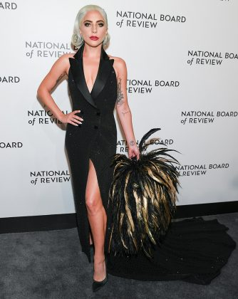 Stefani brought the drama to the 2019 National Board of Review Awards gala in a custom Ralph Lauren tuxedo-inspired gown with feathered accessory. (Photo: WENN)