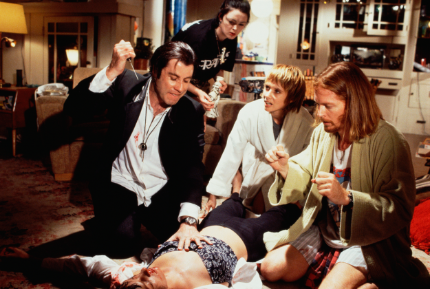 The famous adrenaline shot scene in 'Pulp Fiction' was filmed in reverse. Tarantino placed the needle in Uma Thurman's chest and had Travolta rip the needle from its place. (Photo: Release)
