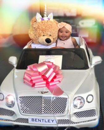 Of course Khloe Kardashian's daughter would be driving a Bentley at the age of 4 months old. (Photo: Instagram)