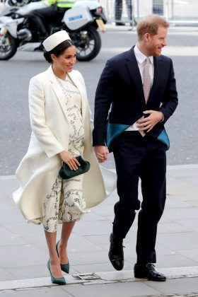 Meghan visited the Westminster Abbey wearing a white outfit by Victoria Beckham with matching pillar box hat and green pumps. (Photo: WENN)