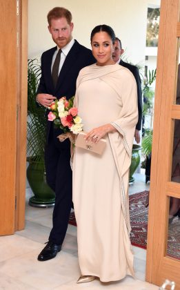 The Duchess of Sussex donned Dior from top to bottom for a reception at the British ambassador's residence in Morocco. (Photo: WENN)