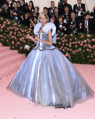 Zendaya wore a Cinderella-inspired dress by Tommy Hilfiger. (Photo: WENN)