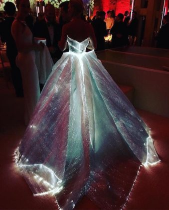 "The designer said his gown meant to highlight ""the place where technology and fantasy meet."" (Photo: Instagram)"