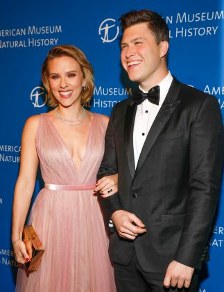 Colin Jost and Scarlett met in 2006 when she hosted SNL. After more than a decade, the pair made their red carpet debut in 2017. They are now engaged! (Photo: WENN)
