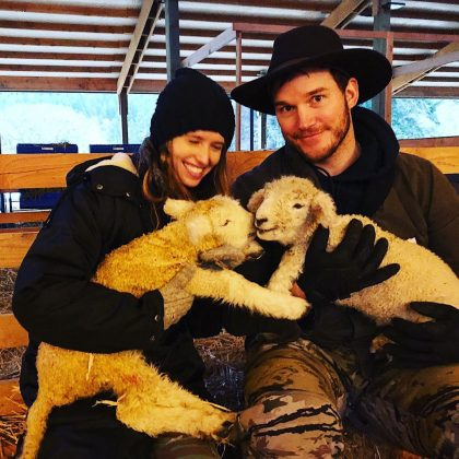 This photo of Katherine, Chris, and their friends Clementine and Cupid. (Photo: Instagram)