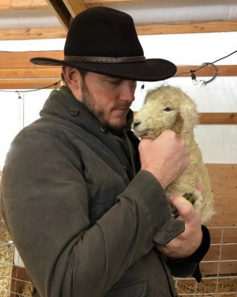 When Katherine shared this sweet image of Chris Pratt holding a sheep. (Photo: Instagram)