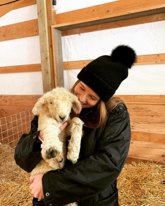 And, of course, Pratt's Instagram also feature a photo of his fiancée cuddling with a lamb. (Photo: Instagram)