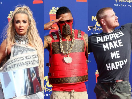 From neon shades, to period pieces, to apocalyptic high-fashion, click to see all the fashion misses at the MTV Movie Awards 2019 red carpet. (Photo: WENN)