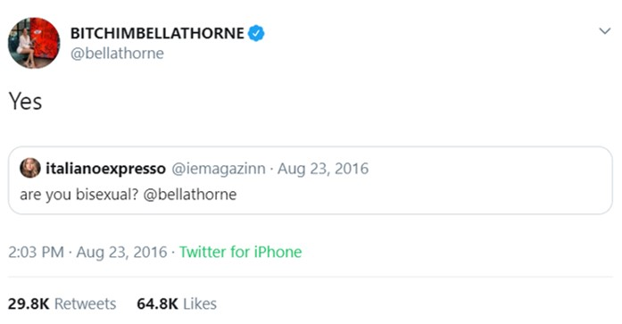 Bella Thorne first came out as bisexual on Twitter in 2016. (Photo: Twitter)