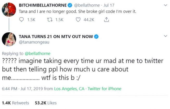 Bella had a beef on Twitter with ex Tana Mongeau shortly after she became engaged to youtuber Jake Paul. (Photo: Twitter)
