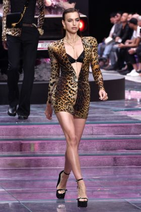 Irina Shayk memorably hit the CR Runway X LuisaViaRom 90th Anniversary Show in Florance, Italy, in her first appearance after the split. (Photo: WENN)