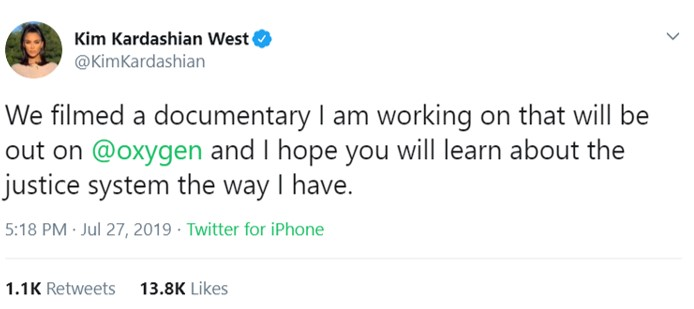 The reality TV star announced the release of her upcoming documentary via Twitter. (Photo: Twitter)