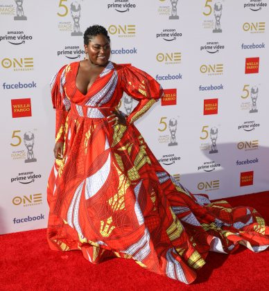 Danielle arrived at the 50th NAACP Image awards in a vibrant orange ball gown with plunging neckline and dramatic puffy sleeves. (Photo: WENN)