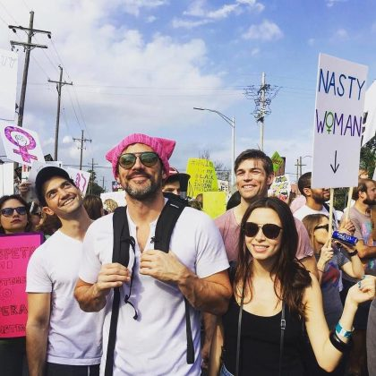"Steve is ""a proud feminist."" He attended the Women's March in 2017 and donned a pink ""pussy hat."" He explained on Instagram why the experience meant so much for him. (Photo: Instagram)"