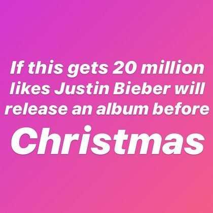 The singer promised new music before the end of 2019 if his Instagram post reached 20 million likes. (Photo: Instagram)