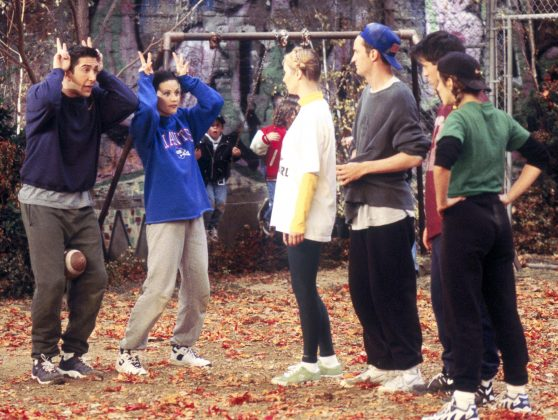 Friends - 'The One With All the Football.' Ross and Monica's sibling rivalry comes out in full force when the Gellers go head-to-head in a touch football game that quickly grows heated. (Photo: Release)