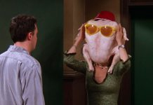 Friends - 'The One With All the Thanksgivings.' A roundup of their worst Thanksgiving memories, including the time Monica cut off Chandler's toe and or when Joey got his head stuck in a turkey. (Photo: Release)