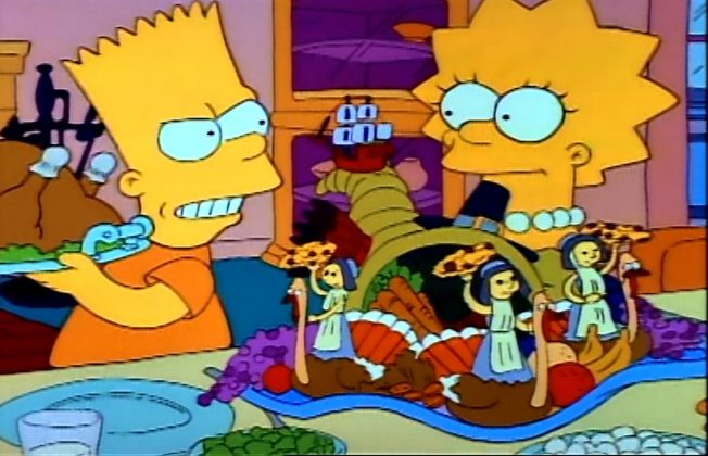 "The Simpsons - 'Bart vs. Thanksgiving."" Bart runs away from home after destroying Lisa's centerpieces and learns to appreciate his family when he fins himself spending the holiday at a homeless shelter. (Photo: Release)"