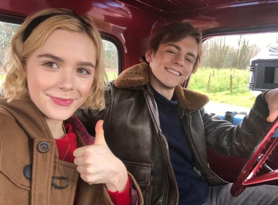 "Though he plays her boyfriend on the series, in real life, Kiernan is best friends with her ""Chilling Adventures"" co-star Rossy Lunch. (Photo: Instagram)"