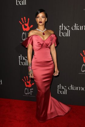 Rihanna hosted her first-ever Diamond Ball in 2014 wearing Zac Posen. (Photo: WENN)