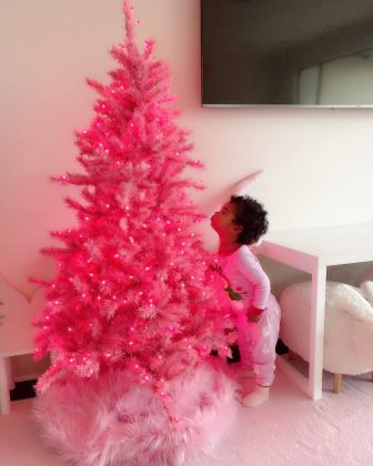 It's no surprise Khloé Kardashian would be so excited to put up a sparkly pink tree for her little True. (Photo: Instagram)