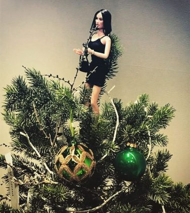 This tree appears to be at Victoria Beckham's clothing store. But how could we not include a Posh Spice tree topper? (Photo: Instagram)