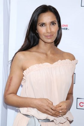 "Padma Lakshmi shared a GIF of a happy Stephen Colbert eating popcorn and captioned it ""me on #ImpeachmentEve."" (Photo: WENN)"
