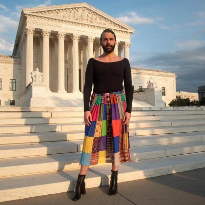 A technicolor patchwork skirt to fight for LGBTQ rights. (Photo: Instagram)