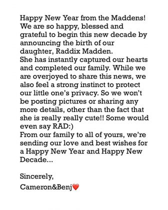 The pair kicked off the year announcing the birth of their daughter Raddix on their Instagram pages. (Photo: Instagram)