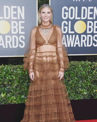 Sorry, Gwyneth Paltrow. But a burnt umber macramé bikini beneath tulle is not a good look for a red carpet. (Photo: Instagram)