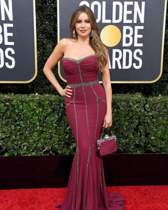Sofia Vergara's gown with glittery accent lines looked better suited for senior prom than the Golde Globes red carpet. (Photo: Instagram)