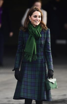 The Duchess of Cambridge stunned in a blue and green tartan coat dress to open the new V&A museum in Scotland. (Photo: WENN)