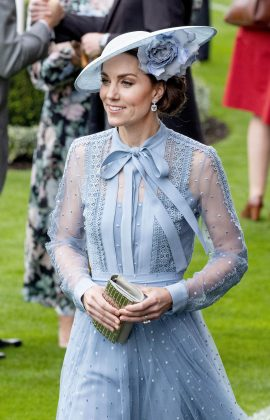 Kate Middleton was a modern-day Cinderella in a chic periwinkle dress with sheer sleeves at the Royal Ascot 2019. (Photo: WENN)