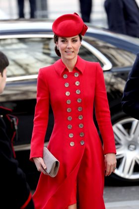 Kate turned heads at the Commonwealth Day 2019 service in a vibrant red coat with shimmering buttons lining the front. (Photo: WENN)
