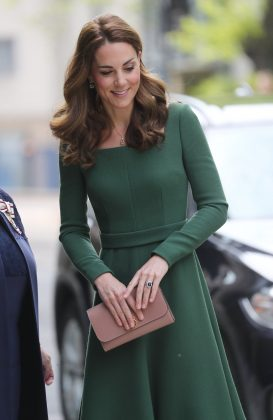 The Duchess dazzled in a green forest dress at the opening of the new mental health institution, Centre of Excellence. (Photo: WENN)