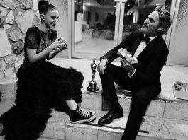 Joaquin Phoenix and Rooney Mara celebrating his first Oscar with a street burger. (Photo: Instagram)