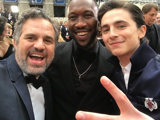 Mark Ruffalo and his friends, Mahershala Ali and Timothée Chalamet on the red carpet. Talk about a squad! (Photo: Instagram)