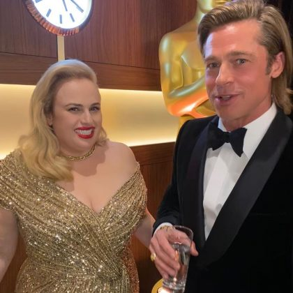 Brad Pitt may have taken home a statuette, but Rebel Wilson won the night with this picture! (Photo: Instagram)