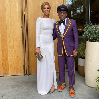 Spike Lee honoring the late Kobe Bryant with a Lakers 24-inspired tux. (Photo: Instagram)