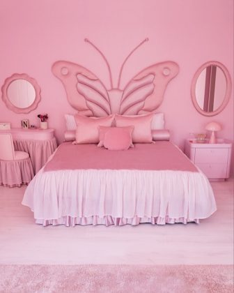 Their daughter's North's room is the only space of the house featuring color—an all-pink bedroom complete with an oversized butterfly headboard. (Photo: Instagram)