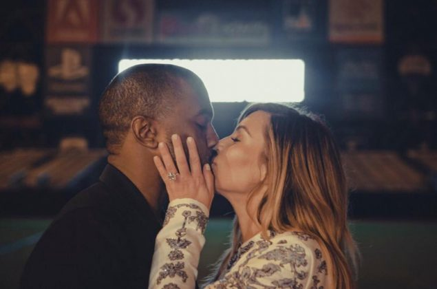 "Kanye asked Kim to be his wife at the San Francisco Giant's stadium, and had a 50-piece orchestra play her favorite song, as ""PLEASE MARRY ME!"" flashed on the jumbotron. (Photo: Instagram)"