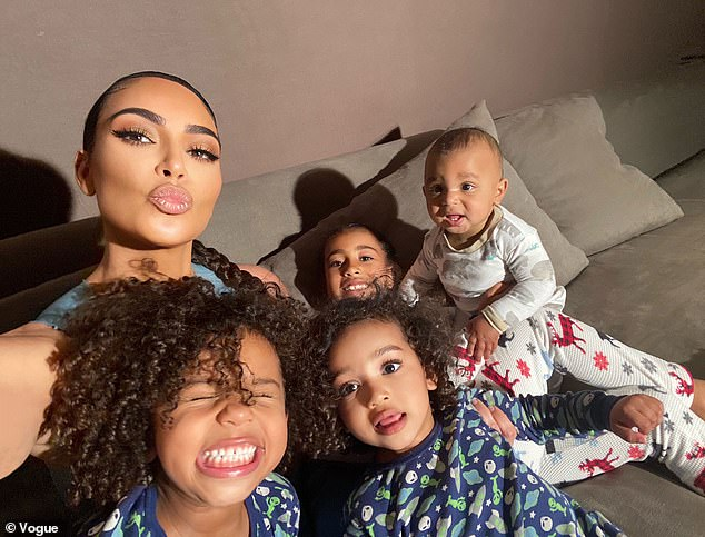 Home life: Kim Kardashian has given fans a look at what life is like inside her Hidden Hills, California mansion with her four children. (Photo/Vogue)