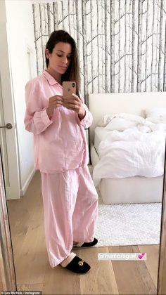 On Saturday, the songstress posted a snap of herself rocking pink pajamas from the maternity (Photo: Instagram)