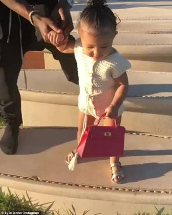 Last year little Stormi also carried a mini pink Hermes Kelly bag in two different posts; with her dad Travis (Photo: Instagram)