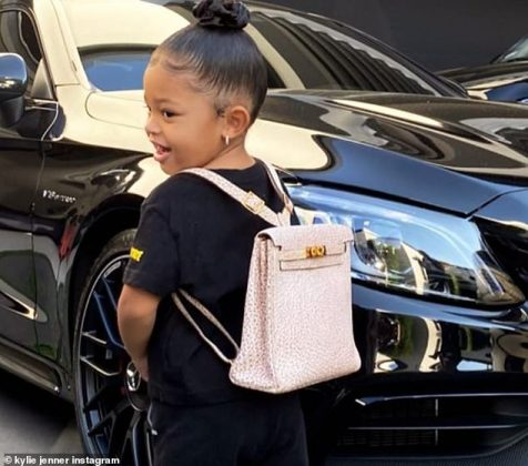 The toddler proudly rocked the pink textured Hermes bag, which featured gold hardware (Photo: Instagram)