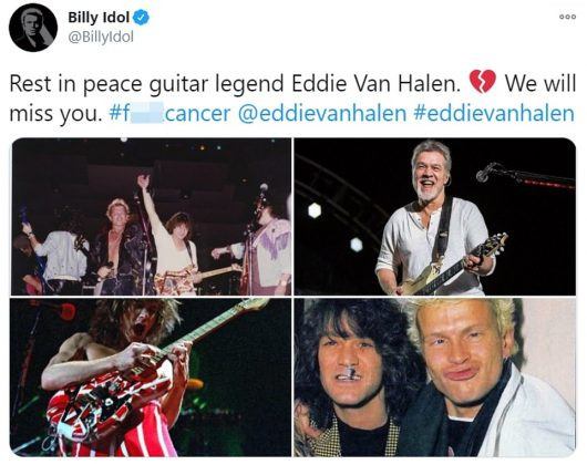 Van Halen is considered one of rock music's greatest guitar players and Eddie was a founding member (Photo: Twitter)